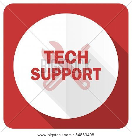 technical support red flat icon