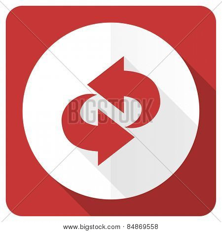 rotation red flat icon refresh sign