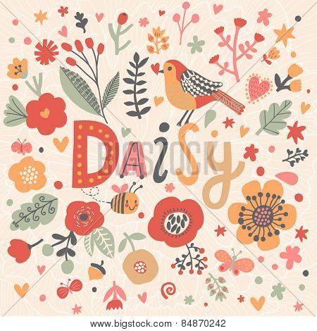Bright card with beautiful name Daisy in poppy flowers, bees and butterflies. Awesome female name design in bright colors. Tremendous vector background for fabulous designs