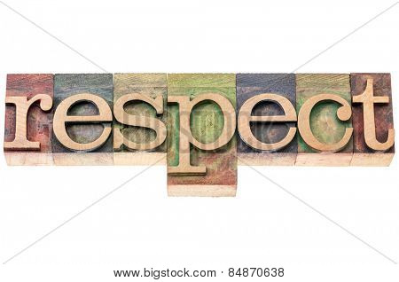respect word typography - isolated text in letterpress wood type blocks
