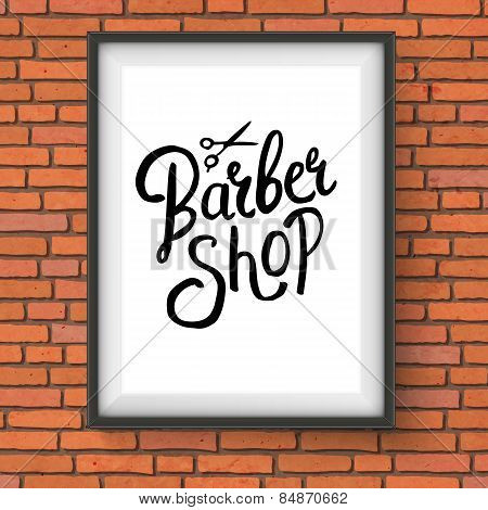 Barber Shop Sign Hanging on Red Brick Wall