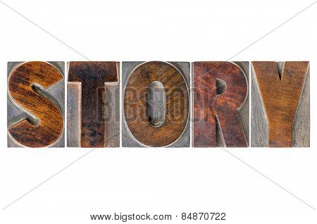 story word - isolated text in vintage letterpress wood type printing blocks