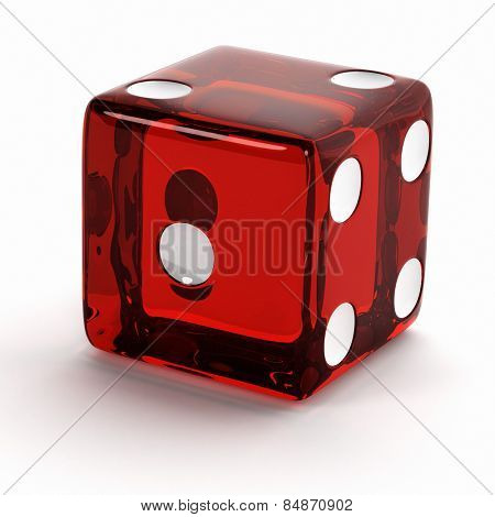 Semi transparent red die close up over white background.