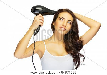 Young healthy girl with hair dryer isolated