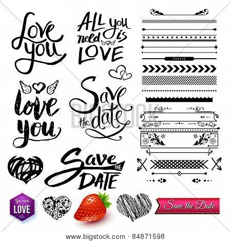 Set of Love Texts, Borders and Symbols on White