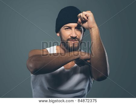 Cool Stylish Rapper Gesturing