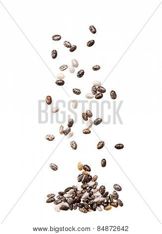 Chia seed isolated on white background.