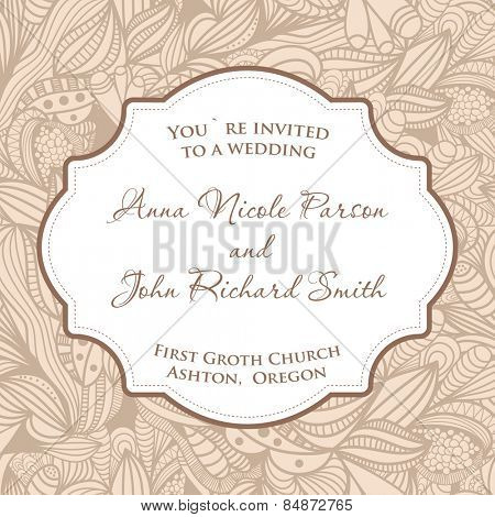 Wedding invitation card with beige seamless pattern.