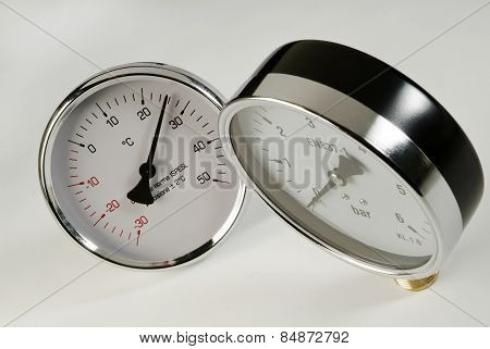 industrial barometer and thermometer