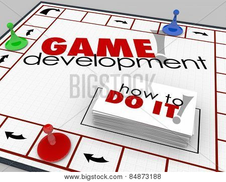 Game Development words on a board game with cards reading How to Do It to teach you software or app computer programming and engineering development