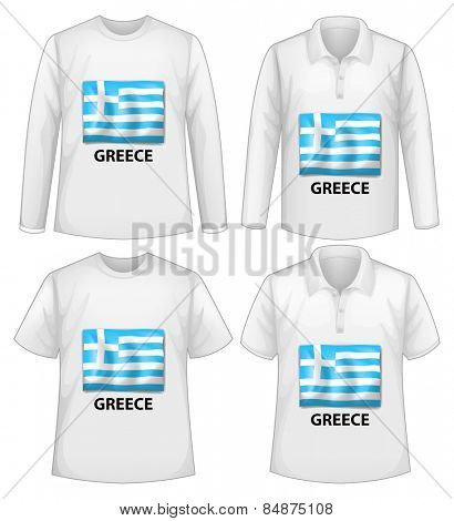 Four white shirts with Greece flag