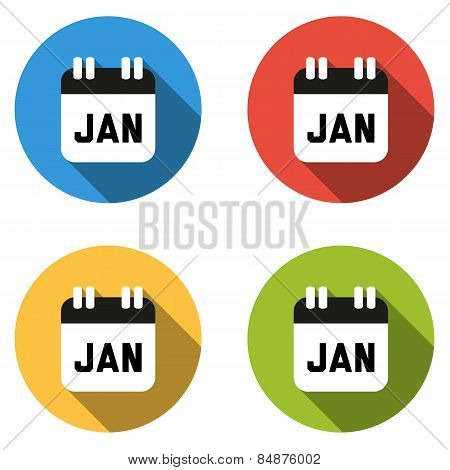 Collection Of 4 Isolated Flat Colorful Buttons For January (calendar Icon)