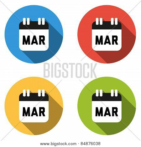 Collection Of 4 Isolated Flat Colorful Buttons For March (calendar Icon)