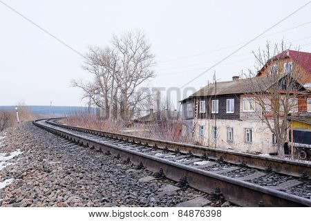 RUSSIA, KALUGA REGION, KOZELSK - FEBRUARY, 23: the image of a railroad tracks