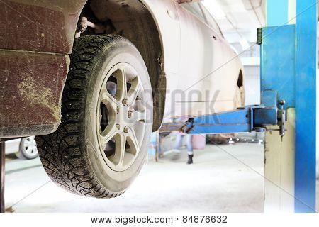 Closeup of an auto wheel