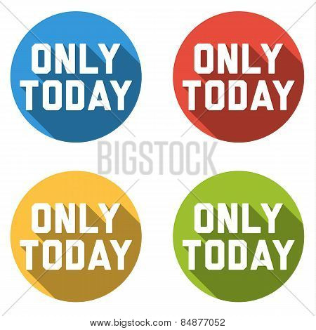 Collection Of 4 Isolated Flat Colorful Buttons For Only Today
