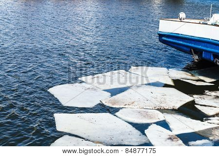 Melting Ice Blocks In River In Spring