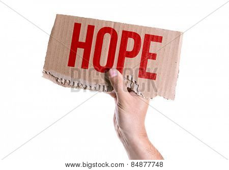 Hope card isolated on white background