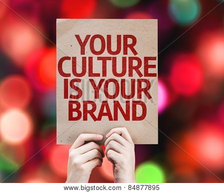 Your Culture is Your Brand card with colorful background with defocused lights