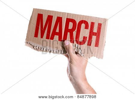March card isolated on white background