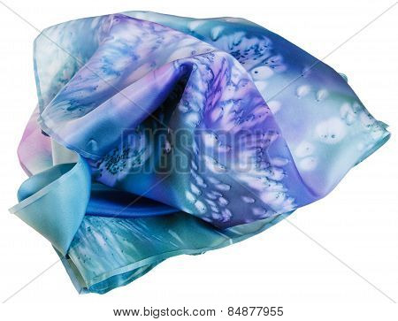 Silk Scarf Painted By Blue Batik Isolated
