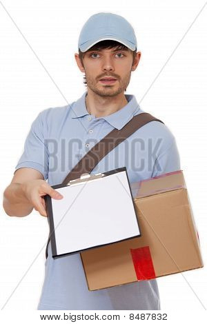 Delivery Man With Package And Clipboard