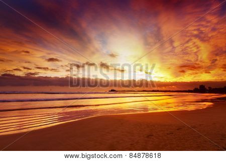 Bright sunset in the town of Weligama, Sri Lanka