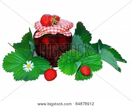 Jar Of Jam With Strawberry And Green Leaves On White