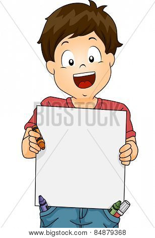 Illustration of a Little Boy Holding a Blank Drawing Board