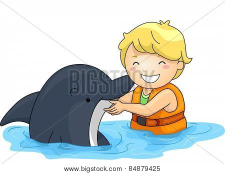 Illustration of a Little Boy Playing With a Dolphin