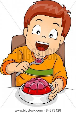 Illustration of a Little Boy Happily Eating Jelly