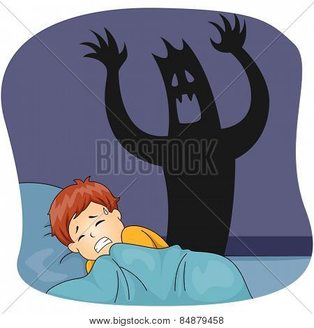 Illustration of a Little Boy Having a Nightmare While Sleeping