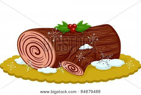 Illustration of an Appetizing Yule Log Topped With Berries