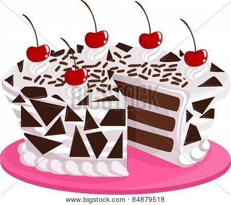 Illustration of an Appetizing Black Forest Cake Sitting on a Pink Platter