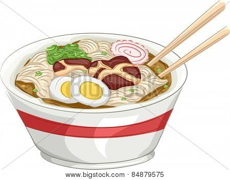 Illustration of a Bowl of Naruto Ramen With a Pair of Chopsticks Resting on the Side