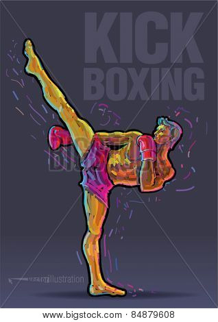 Male kickboxer doing a side kick. Vector artwork in the style of paint strokes