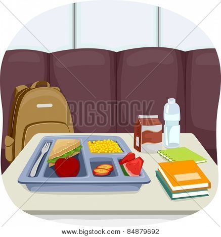 Illustration of a Tray of School Lunch Sitting in the Middle of the Cafeteria