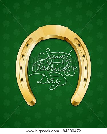 Saint Patricks Day hand lettering card with horseshoe. Vector illustration
