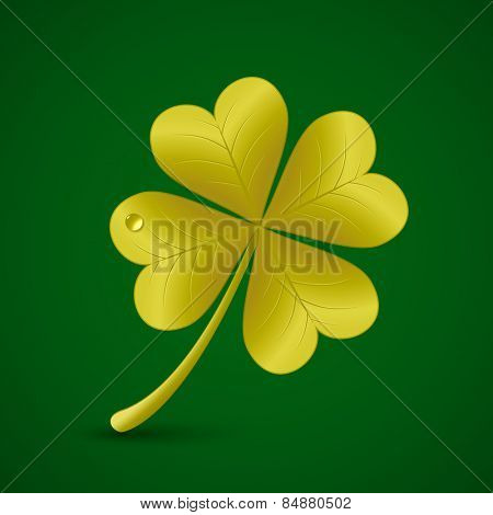 Four leaf golden clover. Vector illustration. St. Patrick's day symbol