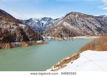 Mountain Lake in the Caucasus, Inguri reservoir