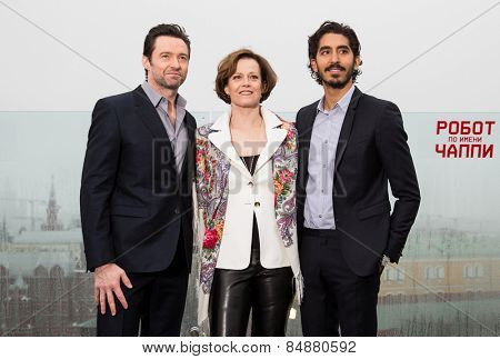 MOSCOW, RUSSIA, MARCH, 01: Hugh Jackman,S.Weaver,D.Patel. Photo-call of the movie 'Chappie', March, 01, 2015 at RITZ HOTEL in Moscow, Russia