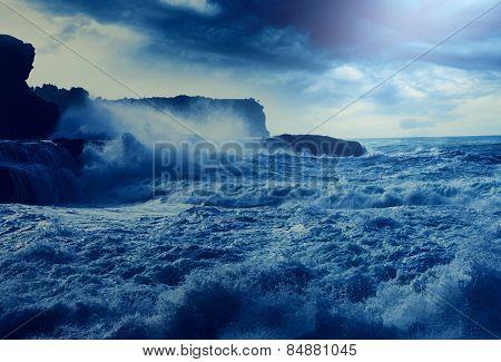storm on Pacific ocean on Pacific ocean