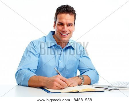Man working in the office isolated white  background.