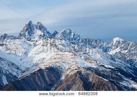 Panorama mountain range in the Caucasus, Ushba