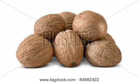 Nutmeg On A White Background