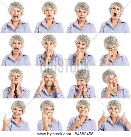 Composite of multiple portraits of a elderly woman in different expressions