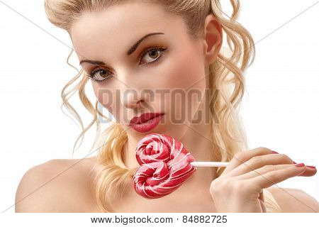 Glamorous girl portrait with Heart sweet candy big lollipop