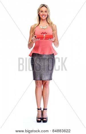 Beautiful woman with gift isolated white background.