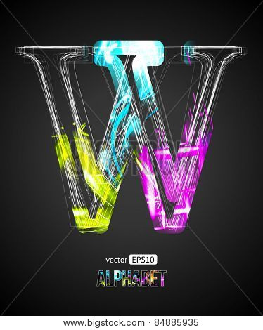 Vector Design Light Effect Alphabet. Letter W on a Black Background.