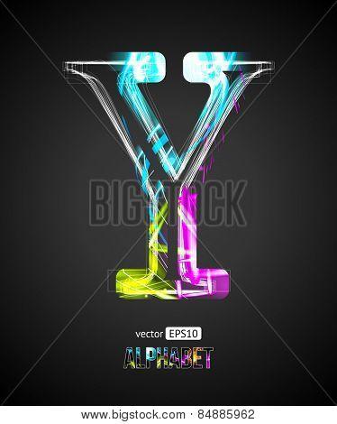 Vector Design Light Effect Alphabet. Letter Y on a Black Background.